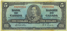 Bank of Canada 1937 $5 Five Dollars Gordon-Towers D/C Prefix VF King George VI