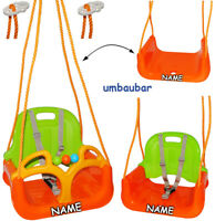 3 in 1 : Kinderschaukel incl. Name - Gitterschaukel - Innen und Außen / Garten -