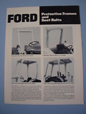 Ford Tractor ROPS Protective Frames & Seat Belts Brochure 4 pg MINT Original '72
