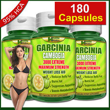 180 Capsules GARCINIA CAMBOGIA 95% HCA Burn Belly Fat Weight Loss Less Appetite
