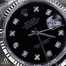 Unisex Rolex Watch 36mm Datejust Black Color Diamond Accent Dial Fluted Bezel