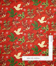 Christmas Dove Birds Red Cotton Fabric Paintbrush Studio Peace Earth - Yard