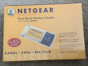 New In Box Netgear 802.11a/b Dual Band Wireles Adapter 32-bit PC CardBus WAB501