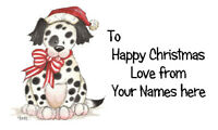 21 X Personalised Labels Stickers Gift Tags Crafts 🎅 CHRISTMAS DOG SANTA BOW