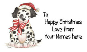 42 X Personalised Labels Stickers Gift Tags Crafts 🎅 CHRISTMAS DOG SANTA BOW