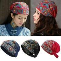 Women Fashion Ethnic Turban Hat Cap Head Wrap Scarf Beanie Embroidered Floral