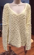 Free People Solid Yellow V-Neck Long Sleeve Cotton Blend Sweater M