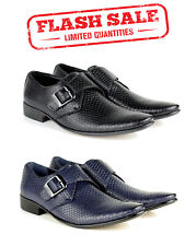 Mens Smart Office Slip On Wedding Work Dress Buckle Shoes Snake Skin Pattern NEW