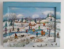 "Charlotte Julian - "" Les petits patineurs "" - Art Naïf - Tableau original"