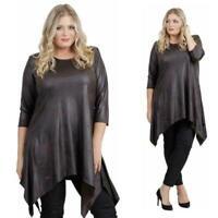 Magna - Damen  Kleid Tunika - Leder0ptik - Lagenlook - Braun - 40/42 bis 56/58