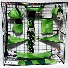Green Tie Dye *15 Pc Sugar Glider Cage set * Rat * double layer Fleece