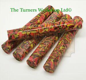 WOOD-TURNING - 5 x Acrylic Pen Blanks Embers