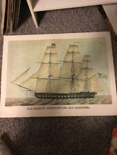 """Vintage U.S. Frigate """"Old Ironsides"""" Color Lithograph Poster by A. Hoen"""