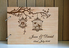 wood guest book A4 love birdcage, wood wedding guest book, personalized album
