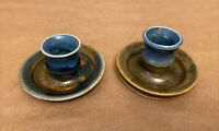 """Pair Handcrafted Studio Pottery Drip Glazed Taper Candle Holder, Signed, 3.25"""""""