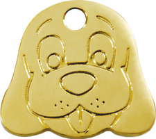 Red Dingo Tag pour Chien laiton 'dog Face' 20 mm Gravur gratuite
