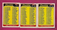 1981 TOPPS # 127 - 389 - 517 UNMARKED CHECKLIST NRMT+ CARD (INV# A6269)