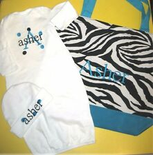 Personalized Baby Diaper TOTE Bag, SLEEPER Gown & HAT Coming Home Set Gift