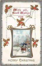 "MERRY CHRISTMAS ""With All Good Wishes"" Horse-Drawn Carriage Postcard 1919"