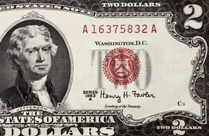 1963 A Two Dollar US Note, Red Seal $2 Dollar Bill, Monticello, Uncirculated