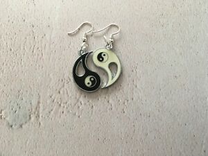 Yin Yang Ying  Drop Dangle Earrings Yoga Buddhist Meditation Om OHM