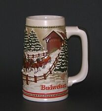 Budweiser Clydesdales Christmas Beer Stein Limited Edition Anheuser Busch Mug