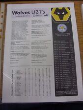 31/03/2014 Wolverhampton Wanderers U21 v Leicester City U21 [At Telford United]
