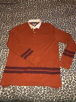 """Mens Xl Tommy Hilfiger Polo Shirt Sweater 46"""" 48"""" Rugby Top Style Burnt Orange"""