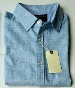 Men's Short Sleeves Summer Holiday Blue Linen Casual Shirts From £6.99