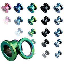 PAIR of COLOR TITANIUM Screw EAR PLUGS Gauges FLESH TUNNEL Body Piercing Jewelry
