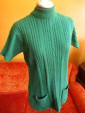 L sz 14  True Vtg 70s GREEN BRADIED ZIPBACK MOD SECRETARY SWEATER Top Shirt