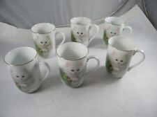 OTAGIRI  JAPAN BOB HARRISON CAT WITH HOLLY CUPS / MUGS LOT OF 6
