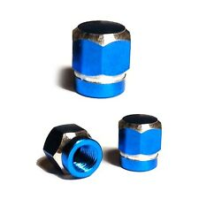 3 Blue Billet Hex Tire Air Valve Stem Dust Caps Trike ATV Bike Wheels