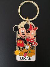Disneyland Name Keychain Mickey Minnie Pluto Personalized LUCAS