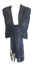 Superbe élégant femmes filles noir paillettes écharpe étole enveloppant pashmina