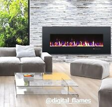 LARGE 50 INCH LED BLACK WHITE GLASS WALL MOUNTED FLUSHED ELECTRIC FIRE - UK 2020