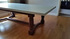 8,10,12 seater Large Steampunk Dining Table, Rust Finish Legs, Hard painted top
