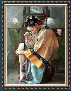 "Hand painted Oil painting original Art Portrait Chinese girl on canvas 24""x36"""