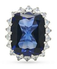 925 SterlingSilver Solitaire Ring Stunning Blue Cushion Flower Style Size-8 -Cls