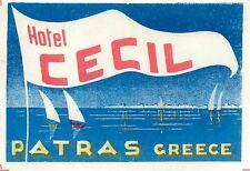 PATRAS GREECE HOTEL CECIL GREAT VINTAGE LUGGAGE LABEL