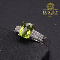 Natural Peridot Gemstone Solid 925 Sterling Silver Adjustable Ring for Women