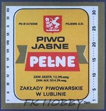 Poland Brewery Lublin Pełne Beer Label Bieretikett Etiqueta Cerveza lu34.2