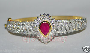 3.46ct ROUND DIAMOND RUBY 14k SOLID GOLD WEDDING BANGLE BRACELET