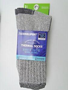 2pr Ladies Women's Boys 9-11 Excell Merino Wool Blend Thermal Boot Crew Socks