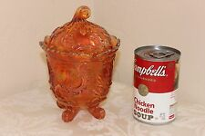 Imperial Carnival Glass Candy Jar With Lid, Luis XV, Marigold, 4 Toed, Marked