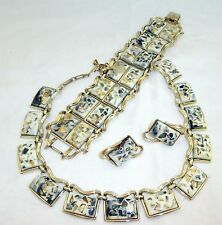 Vtg Coro Thermoset Confetti Bracelet Necklace Earring Parure Unique Black Gold