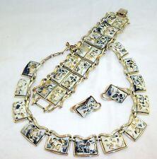 Vtg Coro Thermoset Confetti Bracelet Necklace Earring Parure 1950s 60s