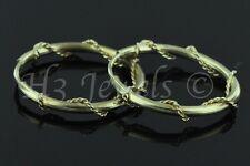 14k yellow gold plain hoop earring with twist braid 0.80 gram 5/8  inch #2138