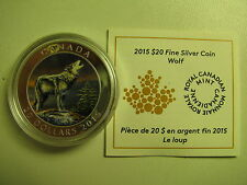 2015 Proof $20 Wolf Canada .9999 silver COIN&COA ONLY twenty dollars