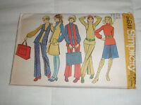 Vintage SIMPLICITY Pattern 9611 Ladies Size 12 1971 Vest Top Pants Skirt Tote